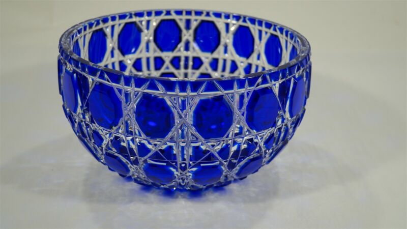 RARE Fabergé Cut to Clear Crystal Russian Imperial Court Cobalt Blue Bowl