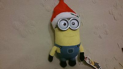 Minion Plüschfigur mit Nikolaus Weihnachtsmann Mütze Brille 26 cm Neu GÜNSTIG ()