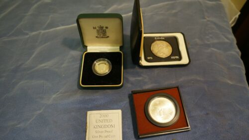 LOT OF 3 CANADIAN/UK SILVER COINS UK 1# STERLING COIN- SILVER DOLLAR-OLYMPIC COI
