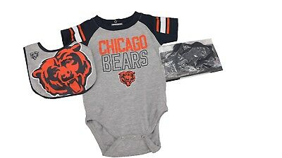 NFL Chicago Bears Baby Infant Size 3 Piece Creeper with Boots & Bib Set New
