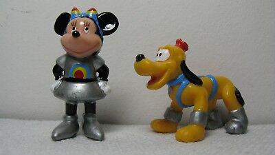 RARE Disney Captain EO Tomorrowland Minnie Mouse & Pluto PVC Figures VINTAGE