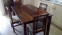 Wooden Teak  Dining Table and  4 Chairs Wilsonton Toowoomba City Preview