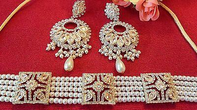 Choker Pakistani Bollywood Rani Haar Bridal Jewellery necklace Earrings set UK