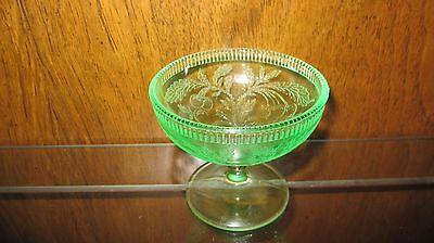 US Glass Cherryberry Green Depression Glass Champagne/Tall Sherbert mfg 1930-35