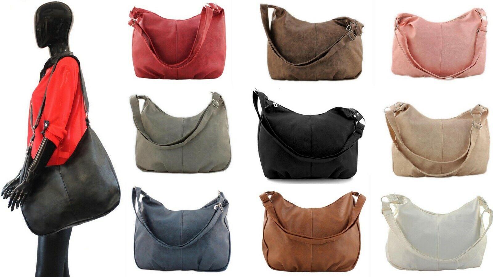 Handtasche Schwarz Schultertasche Damen Shopper Bag gross groß XL Damentasche S7