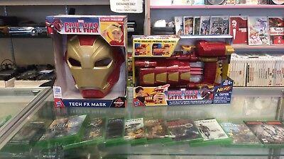 Marvel Captain America: Civil War Iron Man Tech FX Mask and Blast Slide - NEW - Captain America Mask And Shield