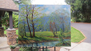 Stunning-Impressionist-Oil-on-Large-Canvas-24-034-x30-034-Landscape-Painting-Signed