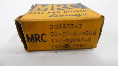 Mrc 203szz-3 Ball Bearing Double Sealed 203szz3 17x40x12mm Has Rubber Width Band