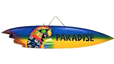 """39"""" Handcarved and Painted Wood Parrot with Drink Paradise Sharkbite Surfboard"""