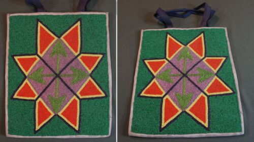 Very Fine 1910 Native American Plateau Nez Perce Yakama Geometric Beaded Bag