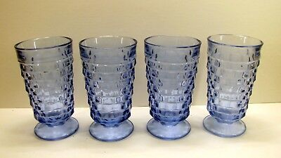 "RARE (4) Blue Depression Jeanette? Glass 6"" Cube Cubist Footed Tumblers Goblets"