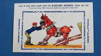 Bamforth Comic Postcard 1920s Horse Racing Betting Bookie Bet BACKING HORSES