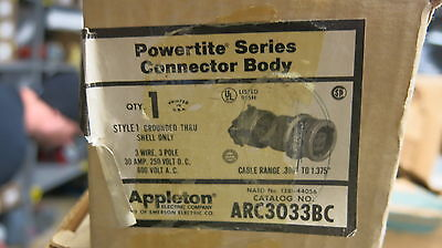 Appleton Arc3033bc 30 Amp 3 Pole 600 Volt Pin Sleeve Connector New