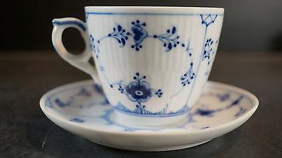 Royal Copenhagen Blue Fluted Plain Demitasse Cup & Saucer Pre 1923