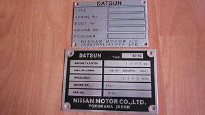 Datsun-1600-P510-L16-SR20-CA18-L18-L20B-FJ20-L16SSS-chassis-plate-ID-tag-blank