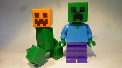 Minecraft Zombie Kopf (LEGO® Figur: Creeper + Zombie mit Kürbiskopf, Minecraft)
