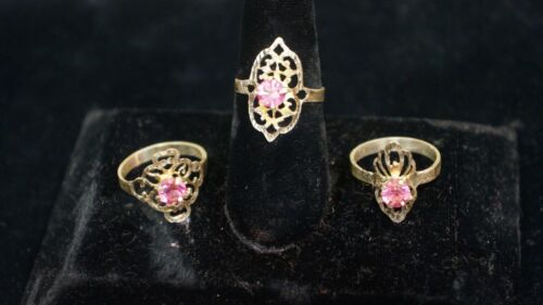 LOT OF 3 RINGS STERLING SILVER PINK STONES 2-SIZE 9.25 1-SIZE 9.75