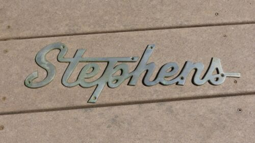 Vintage Stephens Boat Ship Yacht Name Plate Plaque Insignia Badge