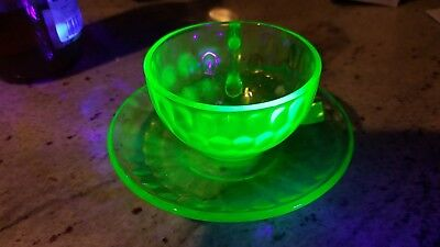 Federal Glass Green Vaseline Glass Cup and Saucer Raised Dots