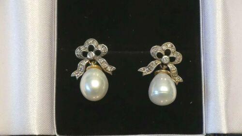 Beautiful Edwardian Style Diamond and Pearl Earrings.