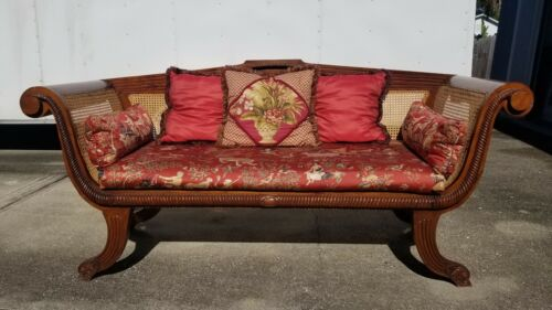 Carved Anglo Indian Settee Sofa Hand Cane Nice Upholstery Clean 20TH cENTURY