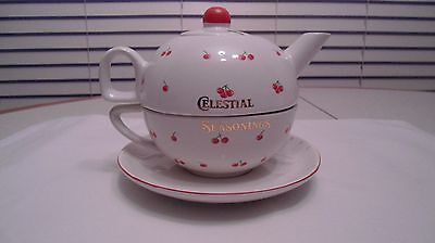 Celestial Seasonings All In One Teapot Mug Saucer Cherries Theme