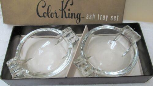 Vintage Color King Vintage Federal Clear Glass (2) Ashtrays In Original Box