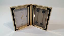 Seiko Japan Vintage Brass Desk table Clock Folding Picture Frame Tested Works