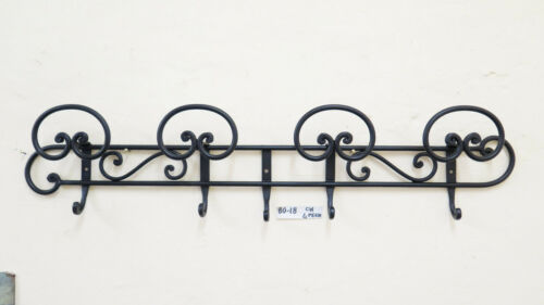 Coat Hangers Hanger Wrought Iron Wall Vintage Design 4 Hooks Ch
