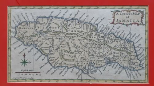 A correct map of JAMAICA. c. 1760. handcoloring. 18th. century map