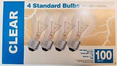 pack of 4 100 watt clear incandescent light bulbs A19 120 volt 1475 lumens (100w Incandescent Bulb Lumens)