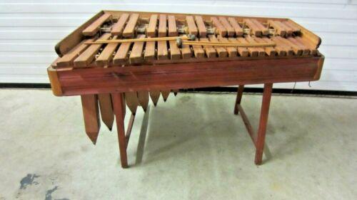 Vintage Hand Made Wooden Marimba Xylophone Instrument w/Resonators