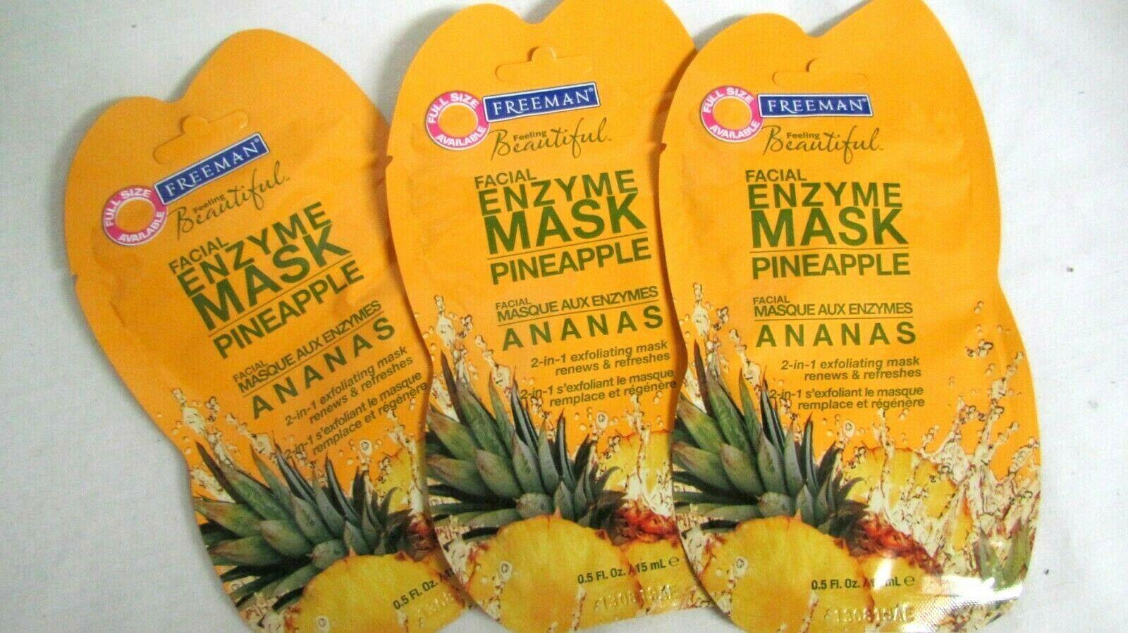 Freeman Facial Enzyme Mask Pineapple 3 packs NEW