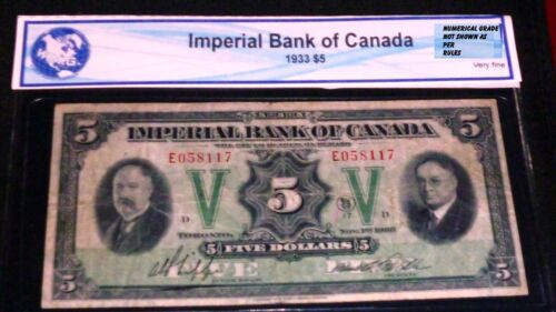 1933 $5  IMPERIAL BANK OF CANADA  LARGE CHARTERED BANKNOTE
