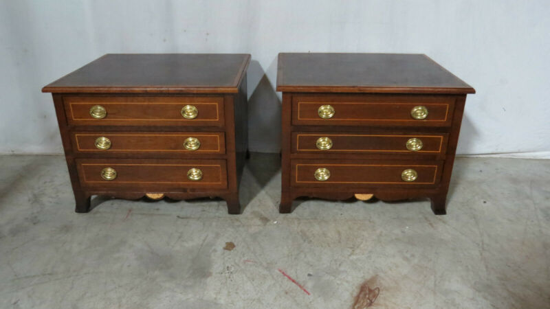 Pair Inlaid Stands Nightstands Tables Three Drawers