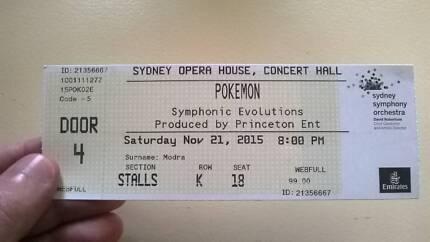 Pokemon Symphonic Evolutions Premium Ticket, Sydney 21/11/15 Adelaide CBD Adelaide City Preview