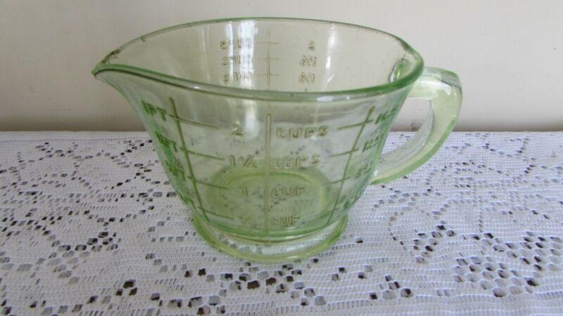 Uranium Glass Measuring Cup (2 c. Capacity) Green