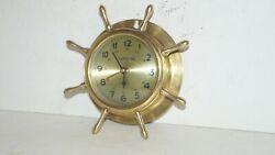 Vintage  Ship's Time  Heavy Brass Quartz Nautical Wheel Wall Clock - VERY NICE