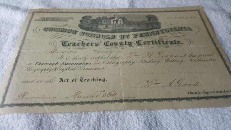 1860 BERKS COUNTY, PA TEACHERS