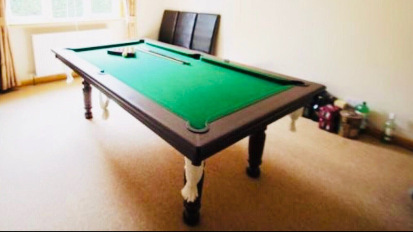 Pool table 7ft x 4ft also a dining table with 4 chairs (also 7 cues/balls/chalk)