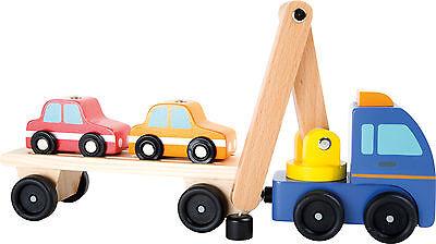 Autotransporter aus Holz mit Ladekran und zwei Autos NEU OVP