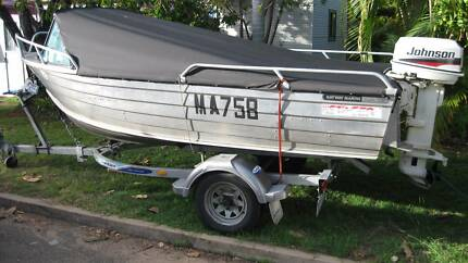 Tinny Boat 3.9m with 30HP Johnson Motor & Dunbier Trailer in VGC Dingley Village Kingston Area Preview