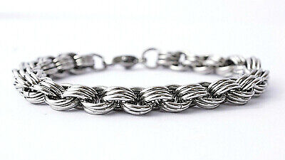 STAINLESS STEEL TRIPLE HOOP CHAINMAIL BRACELET, 8