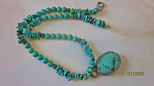 """Estate turquoise & silver bezel pendant necklace turquoise nuggets stand 15"""""""