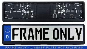 German License Plate Frame / Euro Evo2 Frame BMW VW Mercedes Mini Audi - Black