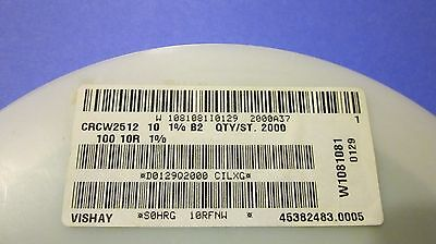 Vishay 2512 1 W Smd Resistor Thick Film 10 Ohm 1 100pcs.