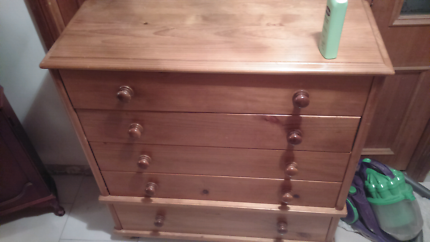 TWO SIMILIAR CHEST OF DRAWERS SOLID WOOD