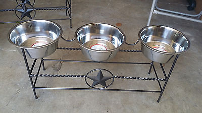 3 Bowl Custom Wrought Iron Big Dog Feeder