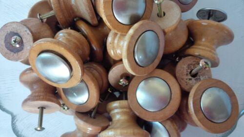 Lot of 36 Wood & Polished Chrome Mushroom Cabinet Drawer Knobs Pulls