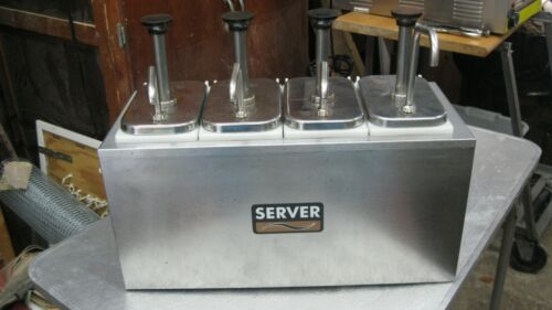 Vintage 4 Pump  Condiment syrup pump dispenser Server Product Stainless Steel